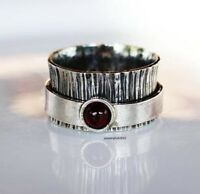 Garnet Stone Solid 925 Sterling Silver Spinner Ring Meditation statement Ring