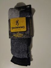 1 Pair Large Browning 75% Merino Navy Hiker Boot Socks fits 9-13 Made in USA