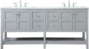 BATHROOM VANITY SINK TRADITIONAL ANTIQUE DOUBLE GRAY BRUSHED NICKEL RED BL