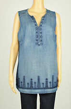 Vintage America Womens Indigo Sleeveless Embroidered Denim Top L