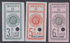 Colombia 1940's, 3 cigarette tax revenues, SPECIMEN, from Am. Banknote archives