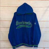 VTG Men's STARTER SEATTLE SEAHAWKS Hoodie Hooded Sweatshirt Blue Large L VINTAGE