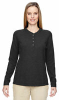 North End Women's Long Sleeve Polyester Performance Waffle Henley T-Shirt. 78221