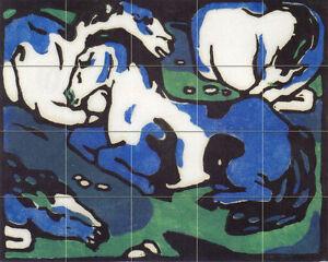 Art Marc Franz Wild Life Blue Horses Mural Ceramic Backsplash Bath Tile #2117