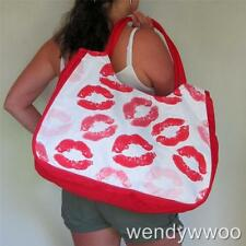 BEACH BAG Large Red,Lipstick,Lips,White,Pink,Big,Hand