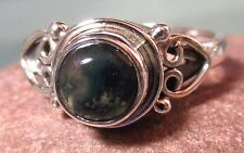 Sterling silver everyday MOSS AGATE ring UK I½-¾/US 4.75
