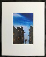 "Through The City original mounted art print 10""x8"" G.Burgess Cornwall"