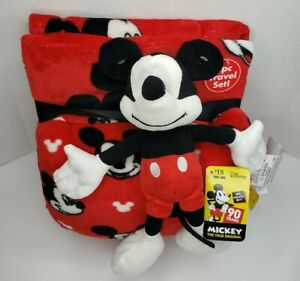 Disney Mickey Mouse Travel Set 3 Piece Kids Travel Set Blanket Pillow Plush Red