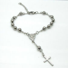 Silver Bracelet With Cross Pendant Small one decade Rosary Bracelet