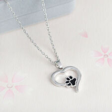 Hot Pet Lover Silver Necklace Puppy Dog Cat Paw Print Pendant Heart Chain Xmas C
