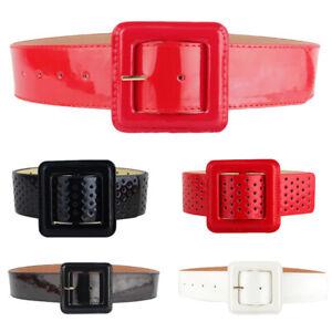 Women Lady Patent Leather Waist Belt One Size Dress Adjustable Corset Waistband