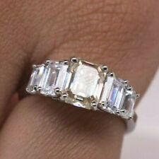 3.00 CT 5 Stone Emerald Cut Moissanite Diamond Engagement ring in 14k White Gold