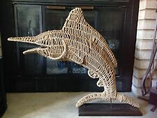 Cynthia Rowley Large Rope/Rattan Dolphin Sculpture On Base NWT