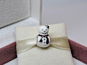 New w/Box Pandora Happy Snowman Enamel Charm 791406ENMX RETIRED Christmas Winter