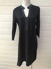 SUSSAN Black Linen Long Sleeve Beaded Tunic Dress - Size 8