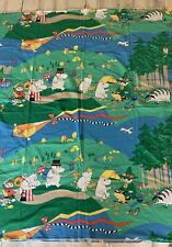 "Vintage Finlayson Moomin Muumi Duvet Cover Blanket Cotton Colorful 45""X 58"""