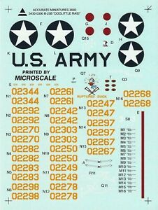 Accurate Miniatures 1/48th Scale B-25B Doolittle Decals from Kit No. 3430-0300