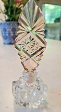 Antique 1920's Art Deco or Nouveau Czech Crystal Glass Perfume Scent Bottle Pink