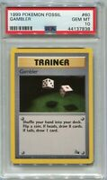 Pokemon Card 3rd Print Gambler 1999-2000 Fossil Set 60/62, PSA 10 Gem Mint