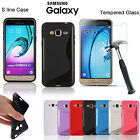 Ultra Clear Gel Case Cover + Tempered Glass Screen Protector For Samsung Galaxy