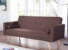 Retro Brown Fabric Sofa Bed 3 Seater Padded Extra Bed Wooden Legs Living Room UK