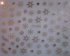 Natale Argento Fiocchi Di Neve Mini Stars Nail Art Adesivi Decalcomanie trasferimenti 092