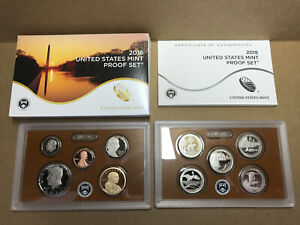 2018-S Proof Set US Mint Cameo Clad 10 Coins w BOX COA 18RG Kennedy ATB $1 5¢ 1¢
