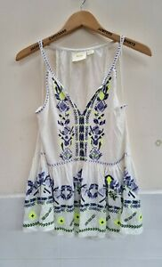 Maeve Anthropologie 100% Cotton Embroidered Tank Top Vest White. Size Large.