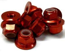102049R 1/10 RC Car Alloy M4 4mm Thread Nylon Lock Nuts x 10 Red 02190 Flanged