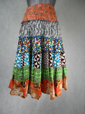 Ladies African Style Colourful Summer Skirt High Waist Band UK Size 12
