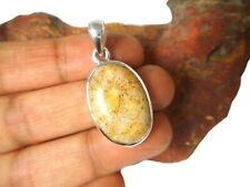 Oval Fossilized  CORAL  Sterling  Silver  925  Gemstone  Pendant