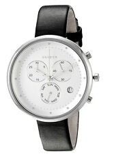 NWT Skagen Womens Gitte White Dial Black Leather Strap Chronograph Watch SKW2427