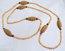 Chunky Rustic  Pale Brown Wood Strand Necklace CJN312
