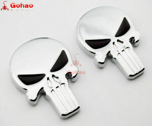 2x Real Metal 3D Stainless Steel Emblem Skull/Skeleton/Reaper Decal Chrome/Black