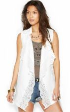 FREE PEOPLE S Ruffle Vest EYELET Trim Crochet Linen Pockets Raw Edge Ivory NWT