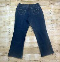 CHICOS Platinum Charm Boot Cut Denim Jeans Womens Size 3 Short Stretch Dark Wash
