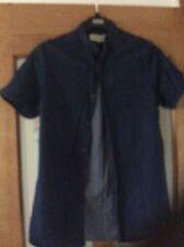 River Island men's dark denim short sleeved grandad style neck shirt in xs