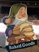 VINTAGE DISNEY SNOW WHITE AND THE 7 DWARFS GROCERY STORE DISPLAY SIGN 2 SIDED