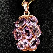 Sterling Silver 925 Rose Gold Plated Genuine Natural Amethyst Cluster Pendant