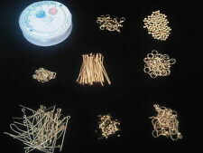 Gold Jewellery Making FINDINGS Kit Jump Ring Beads Tigertail Head Eye PINS