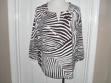 New Chico's Desert Zebra Pearl Peasant Top Blouse  3 (16-18) XL Expresso NWT