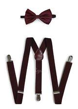 Popular Solid Men Women Clip-on Suspender + Bow-Tie Combo Adjustable Dk-Burgundy