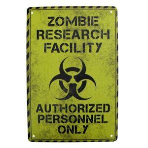 Metal Zombie Research Biohazard Wall Door Warning Sign Garage Man Cave Bar Decor