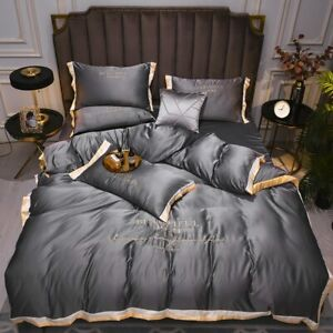 4Pcs Set Double-Sided Washing Silk Embroidery Sheet Home Bedding King Queen Size