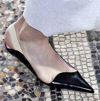 Womens Patent Leather Pointed Toe Pumps Low Heels Stilettos Shoes Slingback Size