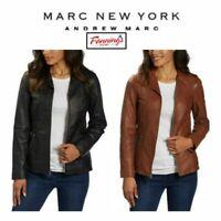 Andrew Marc Womens Zip Up Moto Motorcycle Leather Jacket Cognac Black NWT