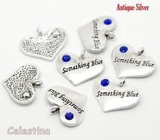 5 x Something Blue Charms - Heart Antique Silver Message Wedding Charms Crystal