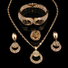 Fashion Women Wedding Alloy Necklace Set African Gold Plated Jewelry Sets