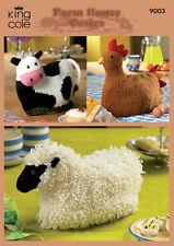 Farm House Tea Cosies DK Knitting Pattern Cow Chicken & Sheep Teapot Cosy 9003