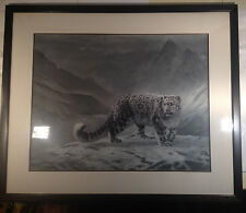 """Charles Frace'  Oversized  LTD ED S/N  """"Snow Leopard"""" Custom Framed/Matt"""